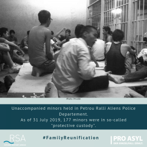 "Unaccompanied minors held in Petrou Ralli Aliens Police Departement. As of 31 July 2019, 177 were in so-called ""protective custody""."