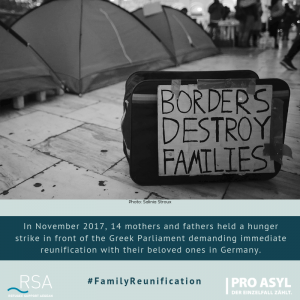 In November 2017, 14 mothers and fathers held a hunger strike in front of the Greek Parliament demanding immediate reunify with their beloved ones in Germany.