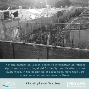 In Moria hotspot on Lesvos, access to information on refugee rights and access to legal aid for family reunifications is not guaranteed. In the beginning of September, more than 750 unaccompanied? minors were in Moria.