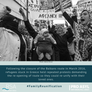 Following the closure of the Balkans route in March 2016, refugees stuck in Greece held repeated protests demanding the re-opening of route so they could re-unify with their loved ones.